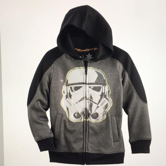 Star Wars Logo Mens Black Pullover Hoodie Sweatshirt Storm Trooper NWT